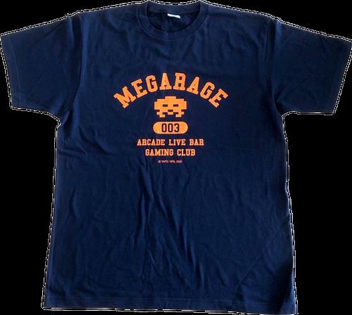 メガレイジ溝の口3周年記念 スペースインベーダー Tシャツ ネイビー/オレンジ
