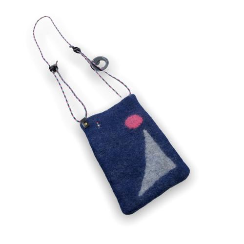 [羊毛フェルト] 39ポシェット -blue-