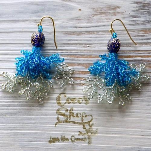 Coralreef motif Pierce -Aqua Blue-