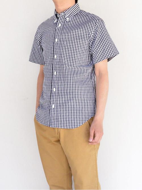 MANUAL ALPHABET マニュアルアルファベット ギンガムチェックボタンダウンシャツ半袖 BLK