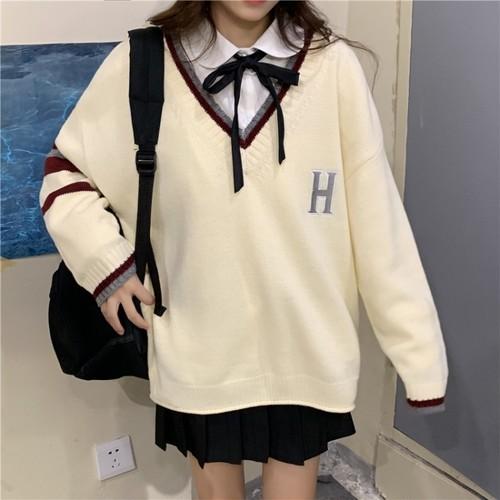 【セットアップ】学園風ニット切り替えアルファベットVネックセーター+スウィートリンボ付きシャツ2点セット