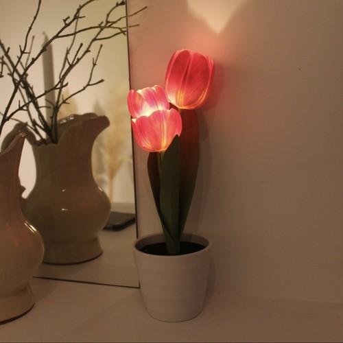 tulip pot LED light 3colors / チューリップ フラワー ライト ルームライト 照明 造花 韓国雑貨