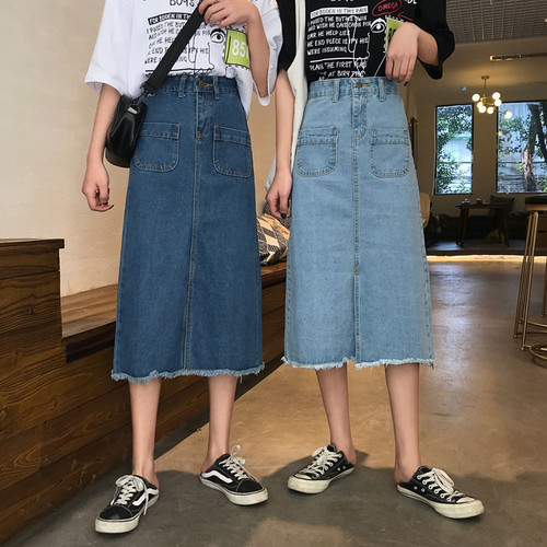 【ボトムス】韓国風カジュアルAラインすね丈デニムスカート