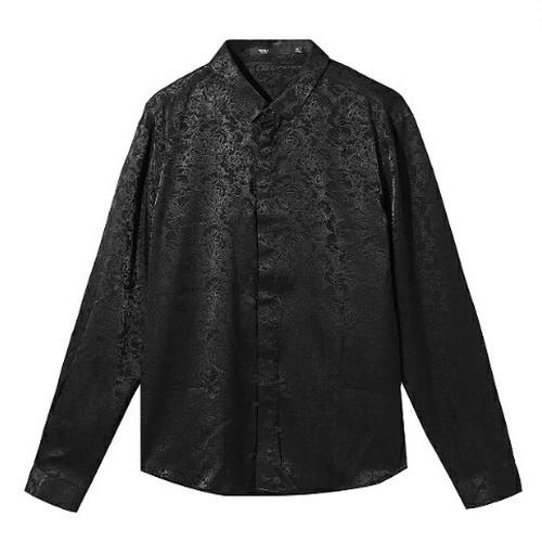 送料無料パーティーコーデに○シャドー花柄白/黒長袖ワイシャツ