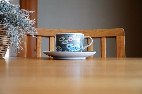 砥部焼/「青い鳥」コーヒカップ&ソーサー/森陶房kaori