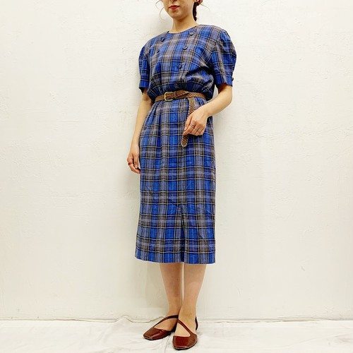 (LOOK) check pattern s/s one-piece