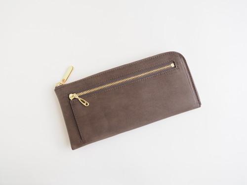 育てるお財布 イタリアンレザー maine 薄くて軽くて大容量な長財布 14ZipWallet グレーブラウン