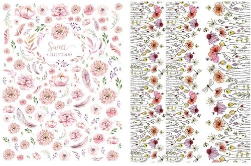 【set割引】ガラス用2枚セット  野に咲く花・水彩スイートフラワー(ポーセラーツ用転写紙)