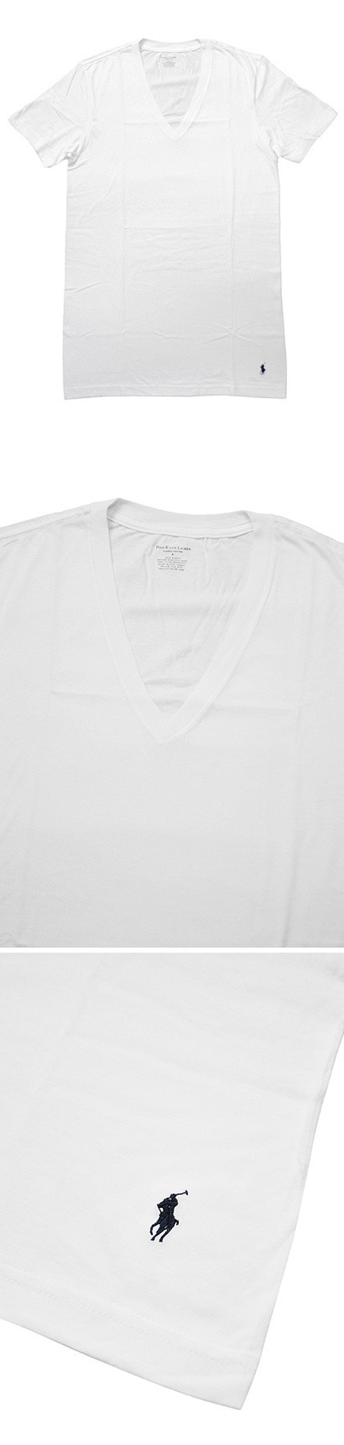 POLO RALPH LAUREN CLASSIC V-NECK Tee WHITE