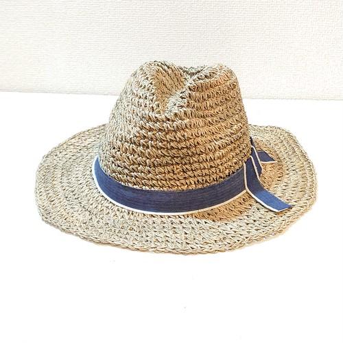 帽子 おしゃれに涼しく、日差しを防ぐ ~ブルーのリボンがかわいい中折れタイプ