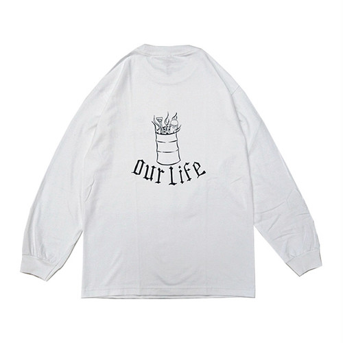 OUR LIFE - BURN BARREL L/S TEE by Chris Lindig (White)