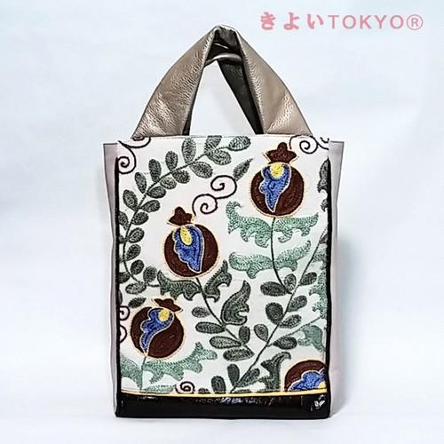 ザクロ柄スザニ刺繍×ミルクブラウンのバッグ【A4が入ります】/着物に合うバッグ(送料無料)