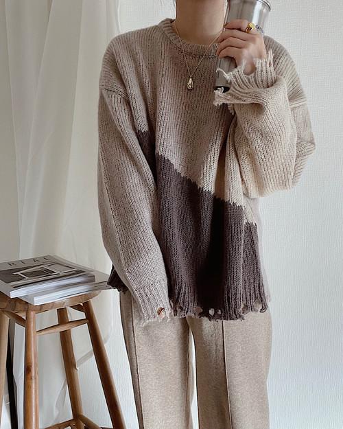 【beige】blocking damage pullover