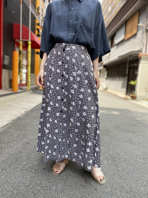 front button flower print skirt