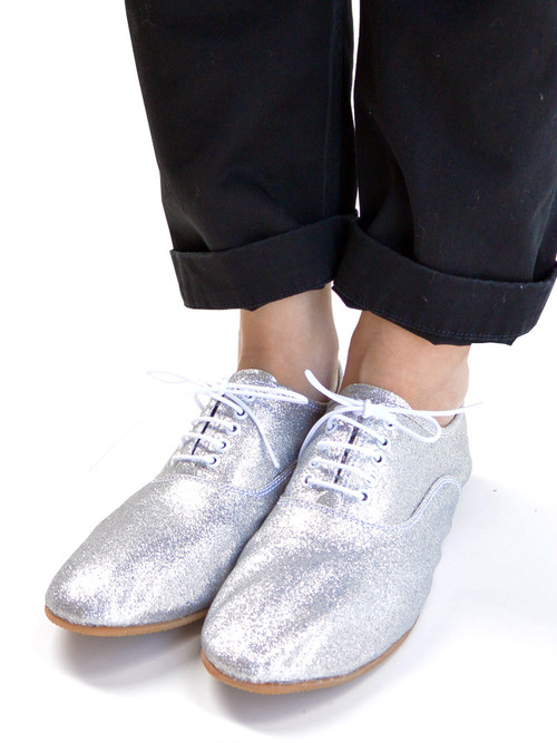 minan polku ミナンポルク soft balmoral shoes Glitter cloth レディース