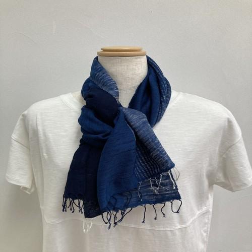 ストール  短め 縦113x横33 手織り 木綿 藍染 草木染 ハンドメイド くびもつ 結工房 日本製 NVSTL10