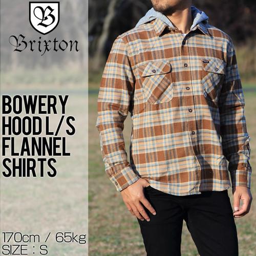 [クリックポスト対応] BRIXTON ブリクストン BOWERY HOOD L/S FLANNEL SHIRTS フード付きフランネルシャツ 01126 CONAT