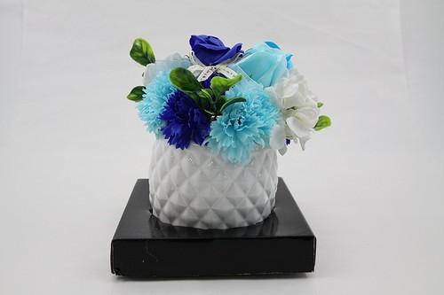 【送料無料】106 フレグランスシャボンフラワー アレンジメント 陶器POT仕様 ブルー 106  花のhiro's japan