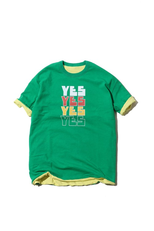 "Reversible Tshirt ""YES NO"" / green×yellow"