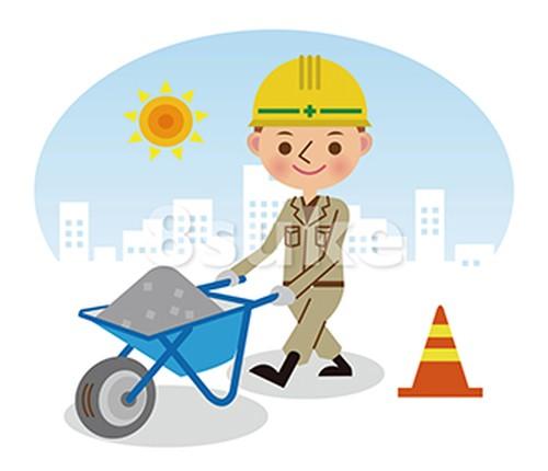 イラスト素材:手押し車で砂利を運搬する土木作業員/昼間背景(ベクター・JPG)