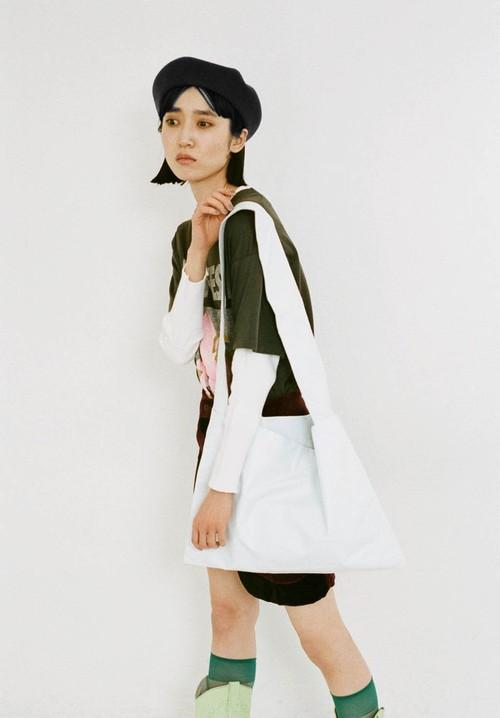 Leather tote bag (L)/White