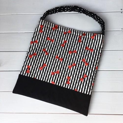 防災頭巾カバー  ブラックストライプ&赤リボンキルト×ブラック帆布