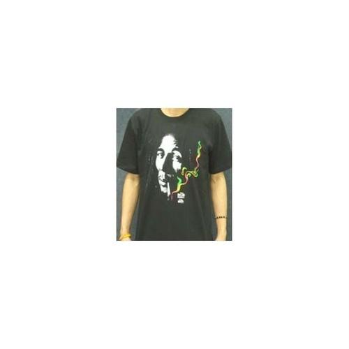 ボブ・マーリー Bob Marley スモーク×ラスタカラー プリントTシャツ