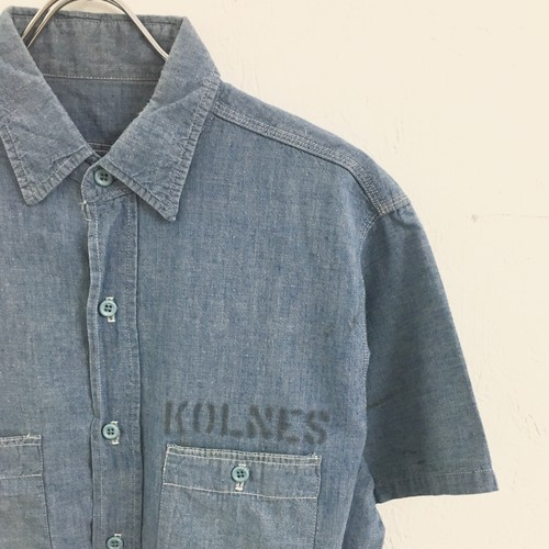 UNKNOWN : s/ s stencil print chambray shirt (used)