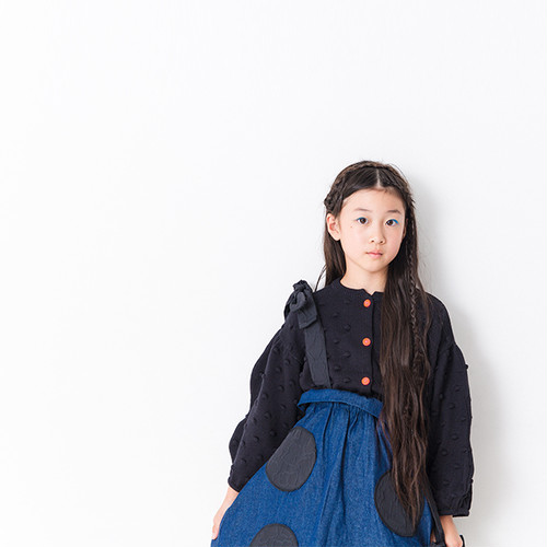 BEAR MT STRAP UNEVEN DOTS DENIM SKIRT / LL