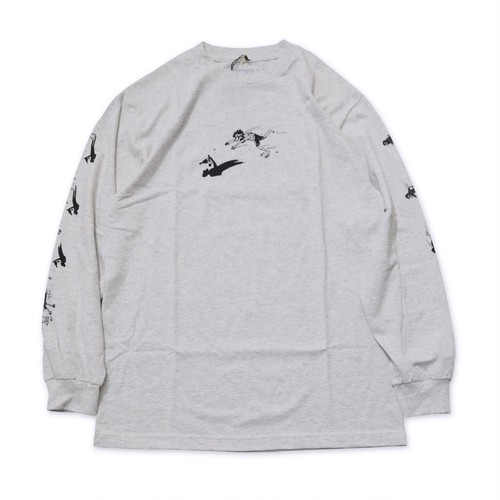 PASS PORT / SHADY SHADOWS L/S T-SHIRT -ASH-