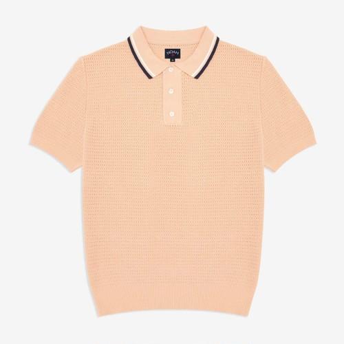Mesh Knit Polo Sweater(Powder Pink)