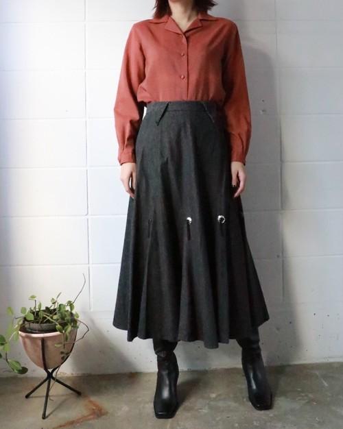 black concho denim flare skirt