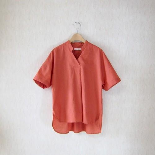 半袖スキッパーシャツ/綿麻ローン