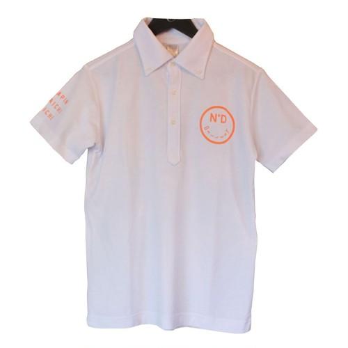 Vond×Golf/ボタンダウン/ポロシャツ/ホワイト×オレンジ