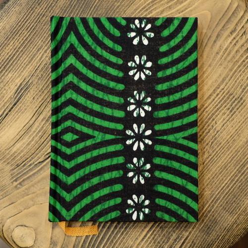 セネガル 花柄ヴィヴィッドグリーン A6無地Colorisノート ポータブルサイズ