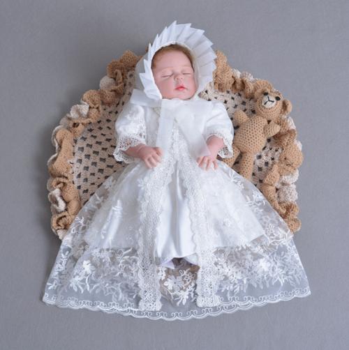 8447ドレス キッズ ベビー 女の子ドレス フォーマルドレス 赤ちゃん 出産祝い お宮参り 新生児 ワンピース 白 3M6M12M24M