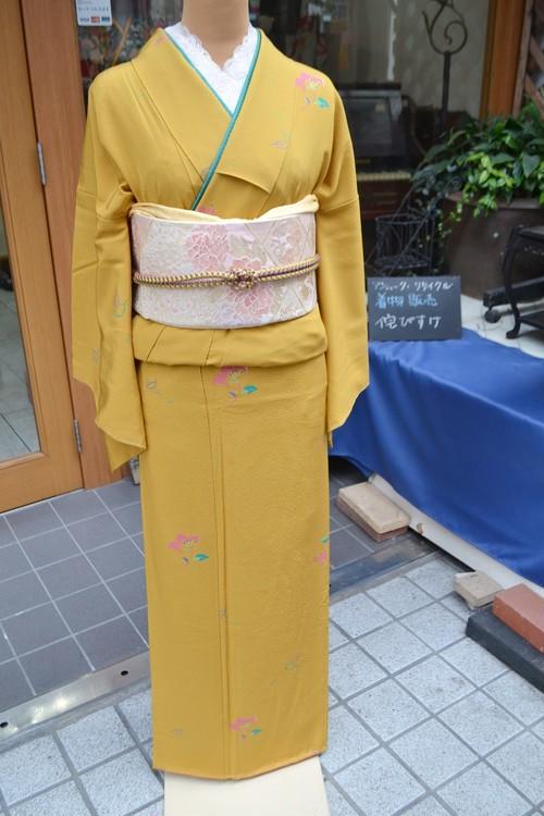 金茶の上品小紋☆椿【トールサイズ】