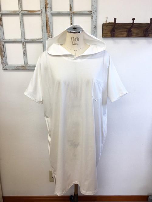 再販×3 やっぱり白Tシャツ❤️男女兼用パーカーフード付きビックTシャツ ロング(メンズ L、レディース L L)