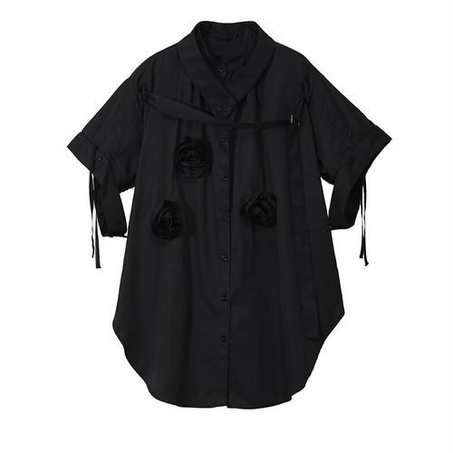 RIMI&Co. SELECT オーバーサイズ デコレーションシャツ ブラック