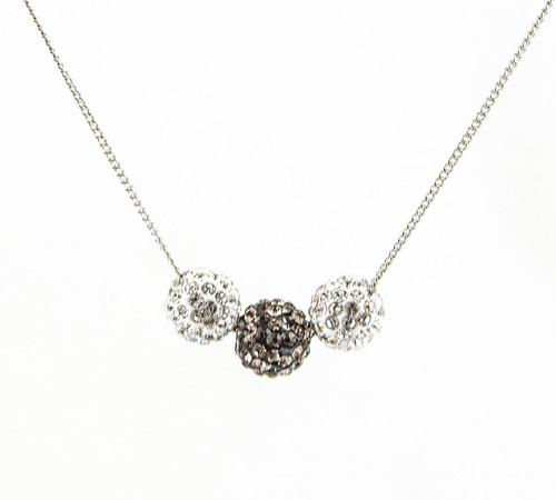 ラインストーンパヴェボールネックレス pve-neckblackdiamond3 クリスタル&ブラックダイヤモンド パヴェ キラキラ