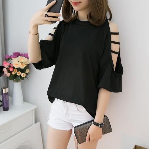 【トップス】ファッション無地透かし彫りダメージTシャツ18281349