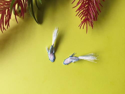 ARRO / 刺繍 / ピアス / イヤリング / TROPICAL FISH / PASTEL PINK