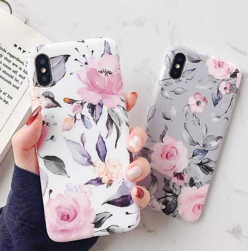 iPhone11あり【お取り寄せ商品、送料無料】選べる2パターン お洒落な花柄 iPhoneケース