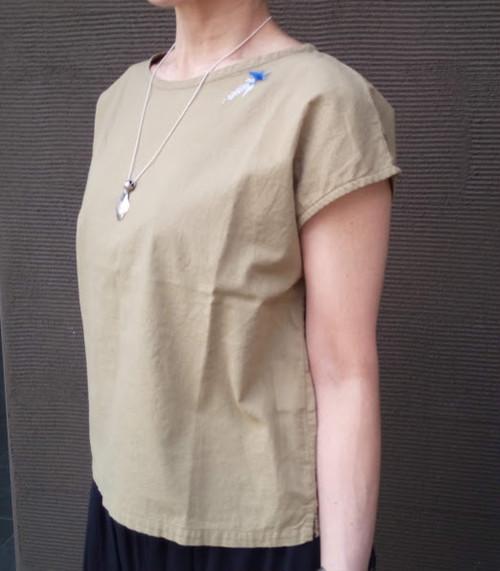 SGブローチ刺繍 フレンチスリーブ プルオーバー (grin グリン)