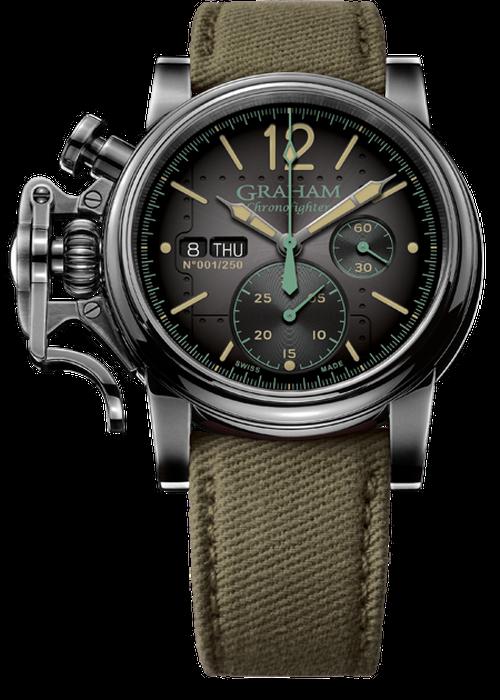 【GRAHAM】限定品/グラハム クロノファイター ヴィンテージ エアクラフト/グリーン スイスメイド腕時計