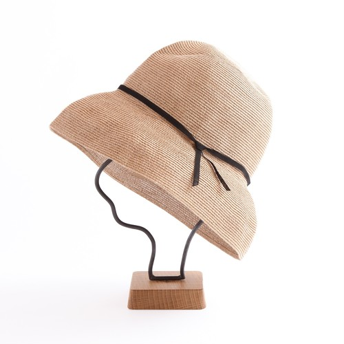 mature ha./paper braid light hat wide/mixbrown×black