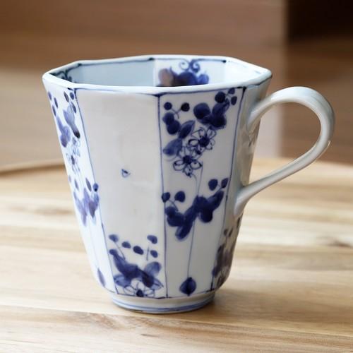 松尾貞一郎 染付草花 八角マグカップ 210204-K22 貞土窯(有田焼)