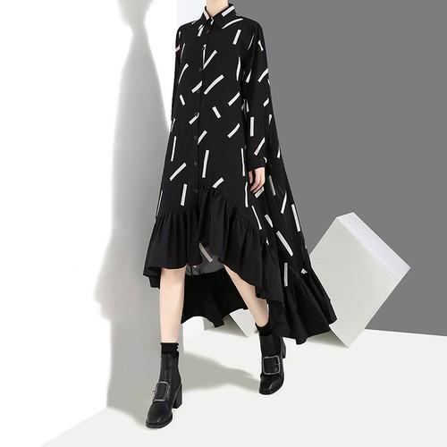 不規則デザイン シャツワンピース アシンメトリー フリル 韓国ファッション レディース ワンピース アシメ 大人カジュアル 大人可愛い ガーリー 577011155737