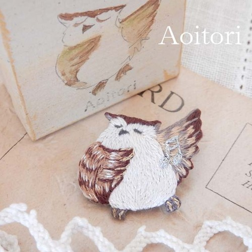 『 フクロウのオペラ 』 刺繍ブローチ