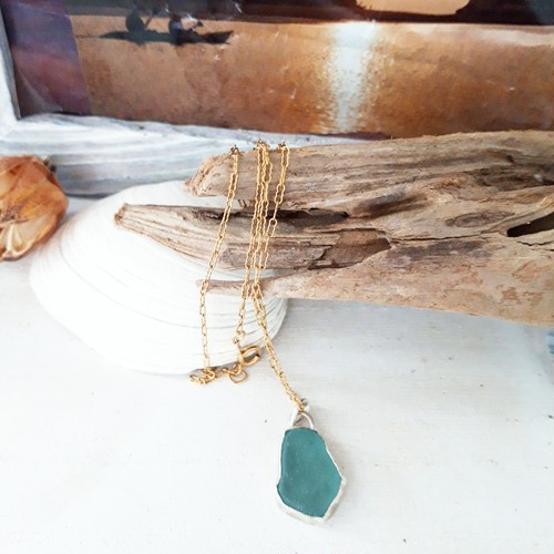 【silver925 × 14k goldfilled】seaglass necklace